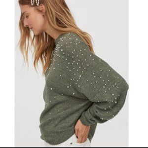 H&M Faux Pearl Embellished Cozy Sweater